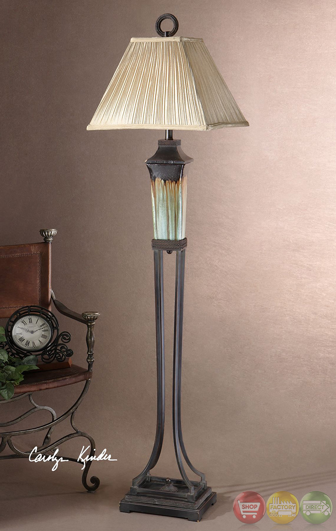 Olinda Light Green Ceramic Amp Brown Metal Floor Lamp 28545