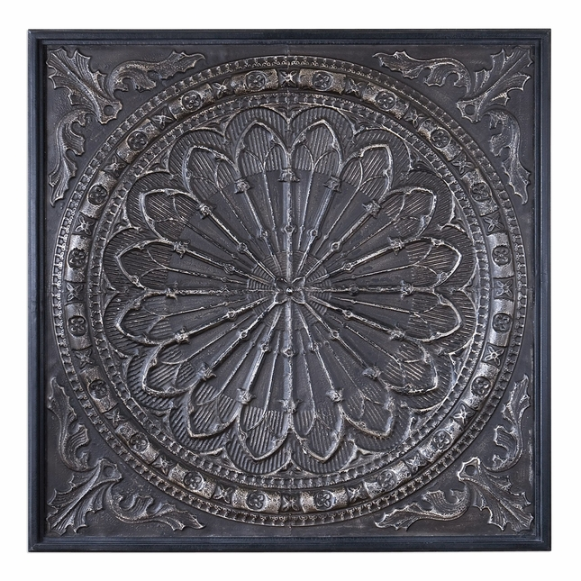 "Ottavio Black and Silver Ornate Iron Embossed Antiqued Wall Art, 44""x44"""