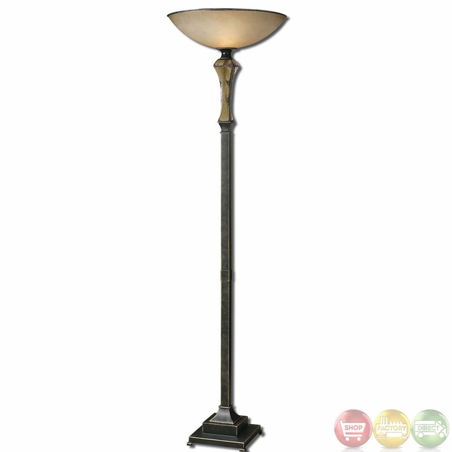 Porano mossy green distressed porcelain torchier floor for Distressed silver floor lamp