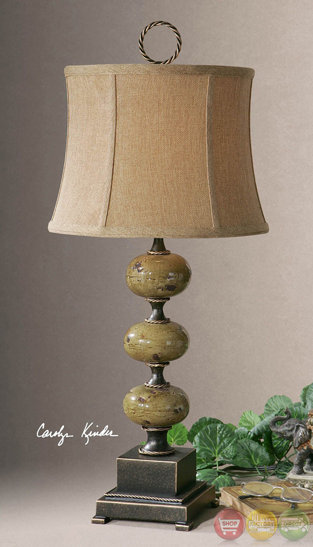 Porano Distressed Porcelain Stacked Spheres Table Lamp 27480