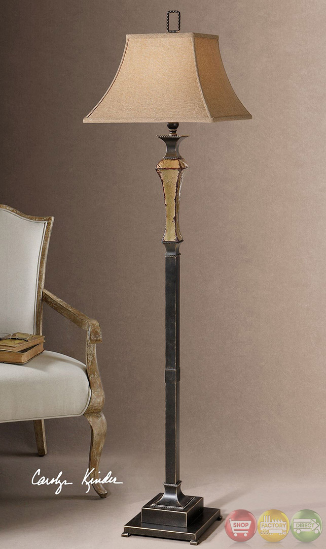 Porano distressed porcelain bronze floor lamp 28582 for Distressed metal floor lamp