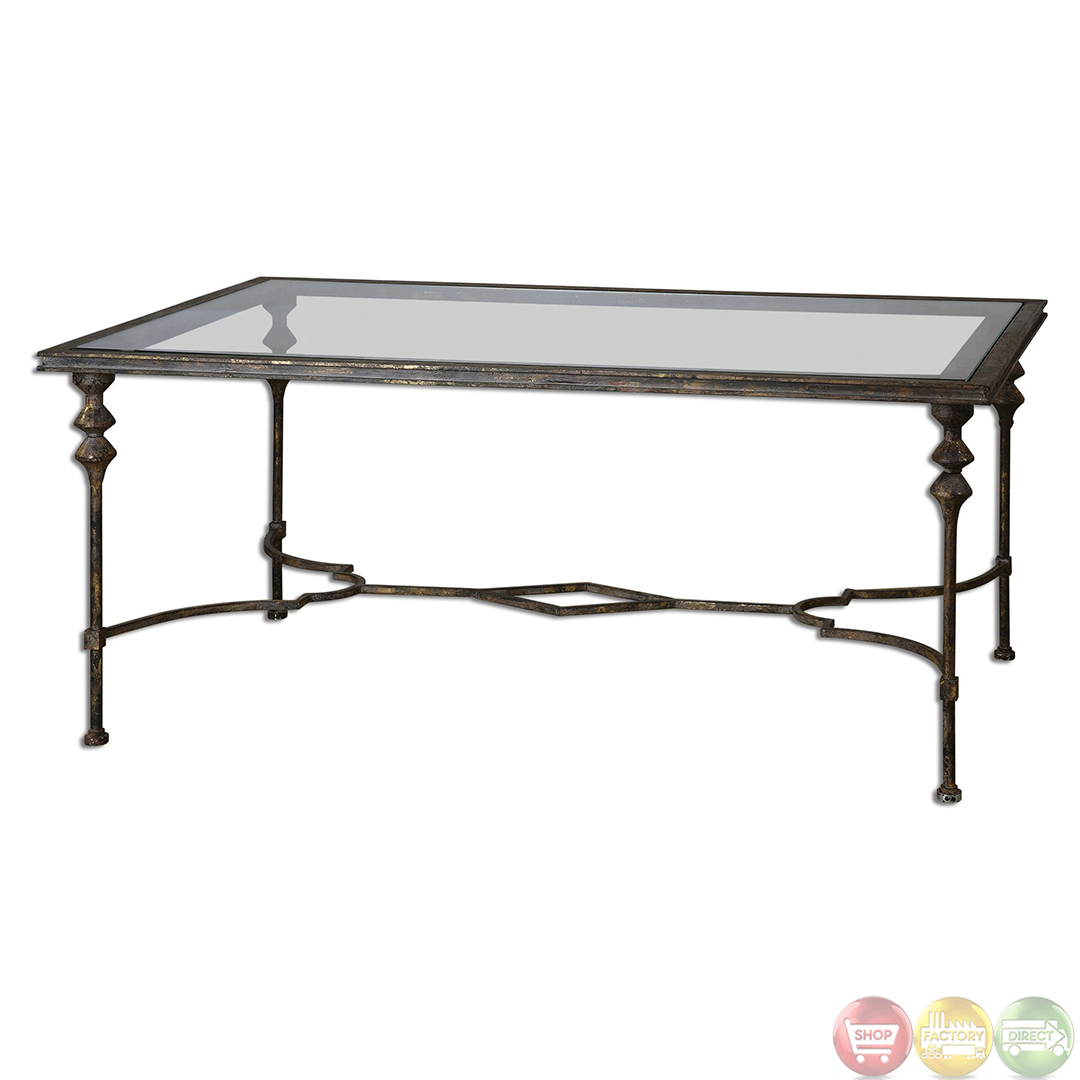 Quillon Antique Gold Finish Glass Top Coffee Table 24364