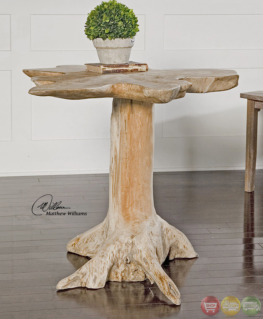 Quito tree trunk solid teak wood accent table 25569 for Wood stump end table