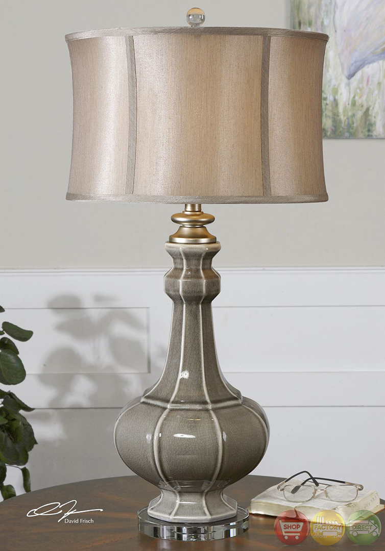 Racimo Crackled Gray Ceramic Table Lamp 27427 1