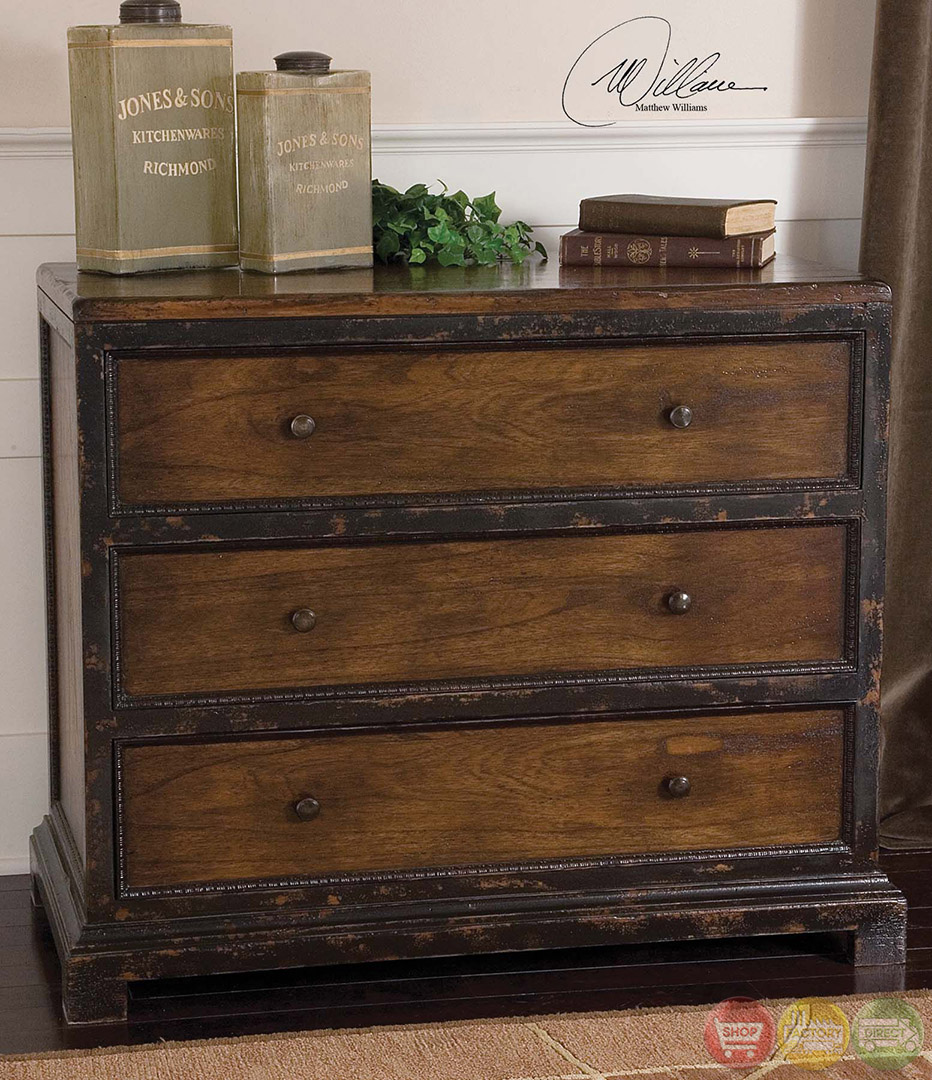 Rishi Rustic Distressed Finish Solid Wood Drawer Chest 25504
