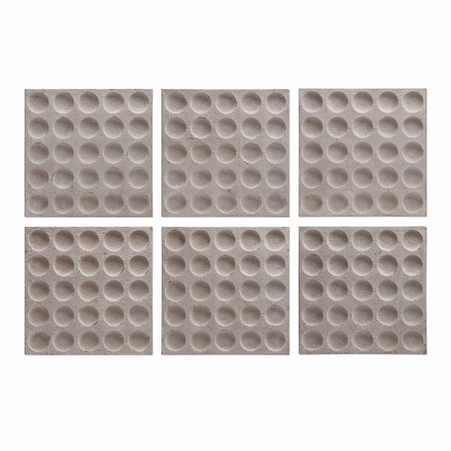 "Set of 6, Rogero Squares With Concave Circles In  Stone Finish Wall Art, 20""x20"""