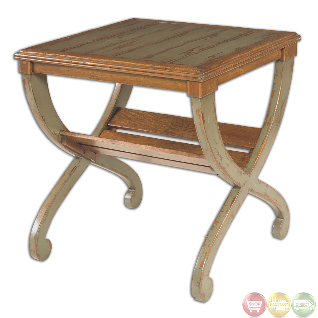 ronica country rustic solid wood accent table 25587