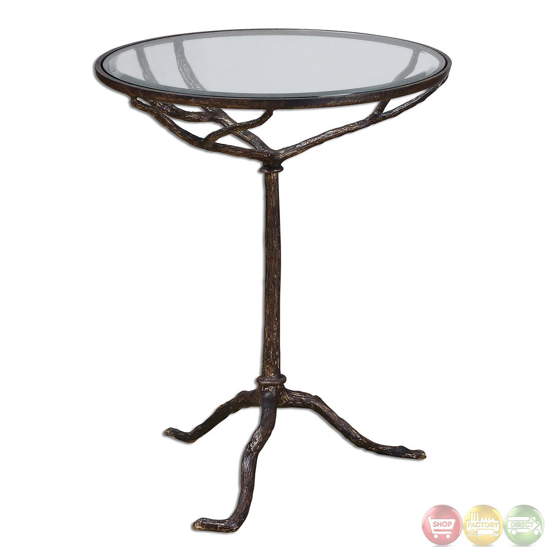 Sadira tree branch cast iron accent table 24366 for Cast iron end table