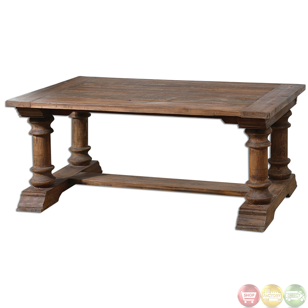Saturia rustic reclaimed wood coffee table 24342 Recycled wood coffee table