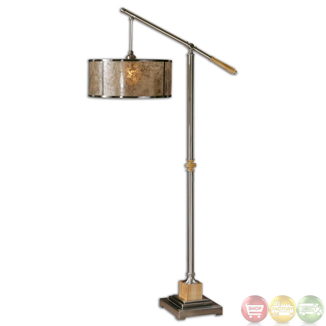 sitka mica shade brushed aluminum transitional floor With sitka silver floor lamp