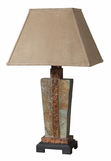 Indoor/Outdoor Slate & Hammered Copper Table Lamp 26322-1