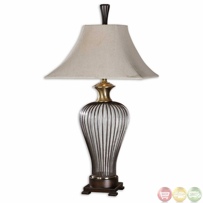 Stoughton Dark Bronze Cage Brown Seeded Glass Table Lamp 26752