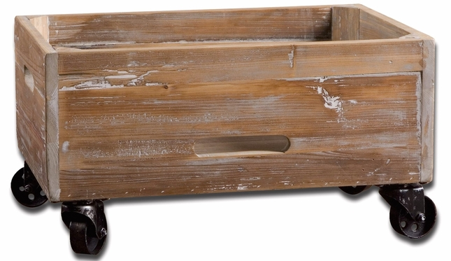 Stratford Weathered Reclaimed Wood Rolling Box 24247