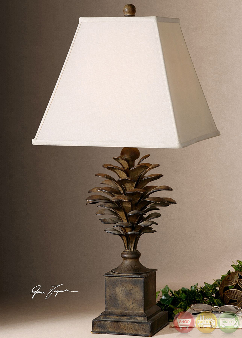 Suzuha Pine Cone Antiqued Finish Metal Table Lamp 27667