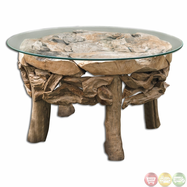 Teak Root Glass Top Beach House Coffee Table 25619