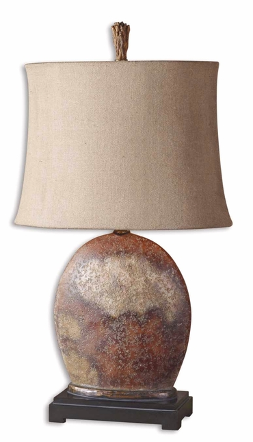 Yunu Distressed Rusty Brown & Oatmeal Linen Shade Table Lamp 27998-1
