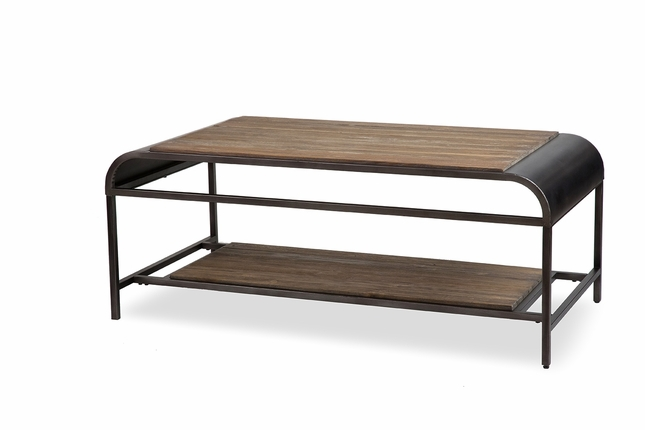 casual acacia wood coffee table with black metal finish