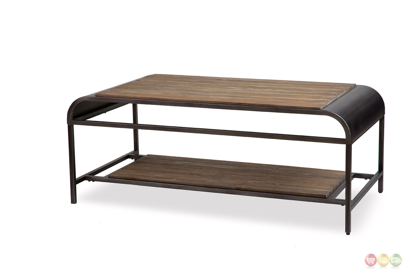 Vail casual natural acacia wood coffee table with black metal finish Black wooden coffee tables