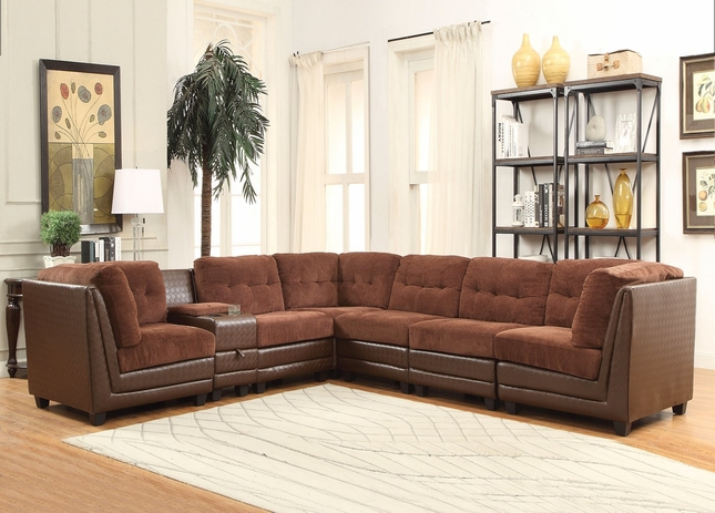 Valen  7-pc Casual Modular Sectional Sofa in Brown Chenille & Faux Leather