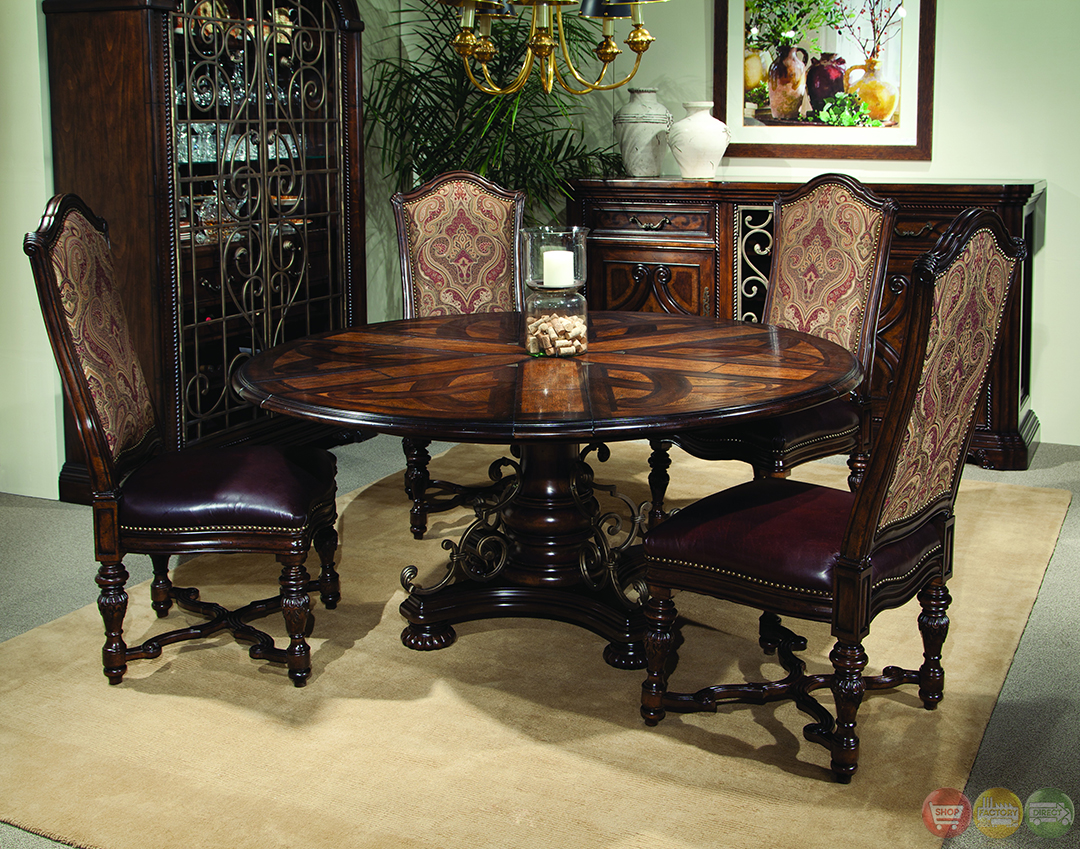 Valencia antique style round table dining room set for Round dining room table sets