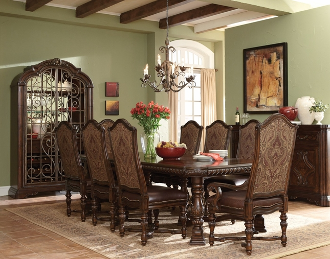 Valencia Antique Style Trestle Formal Dining Set