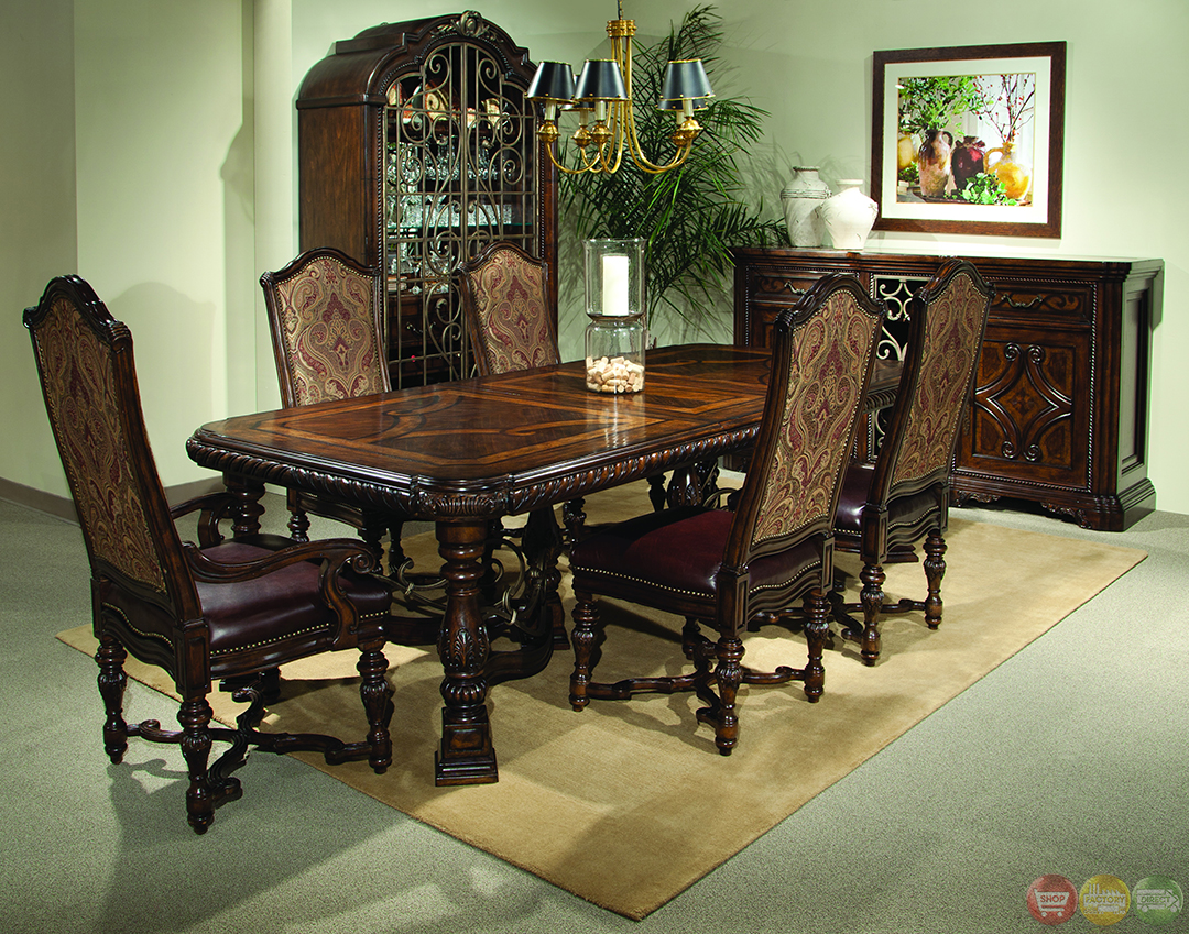 Valencia antique style trestle formal dining set for Antique dining room sets