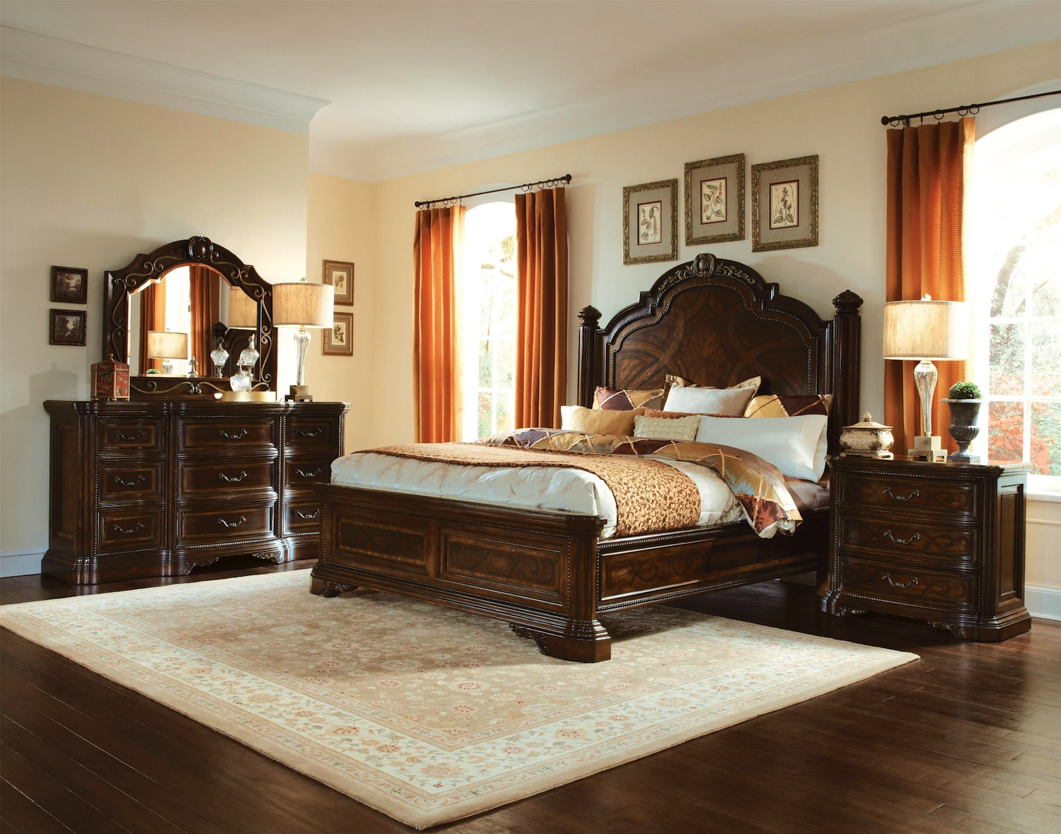 Valencia carved wood traditional bedroom furniture set 209000 for Traditional bedroom furniture