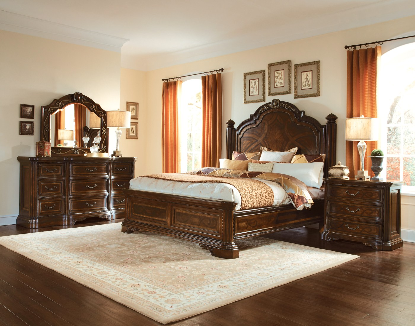 Valencia carved wood traditional bedroom furniture set 209000 for Bedroom dresser sets