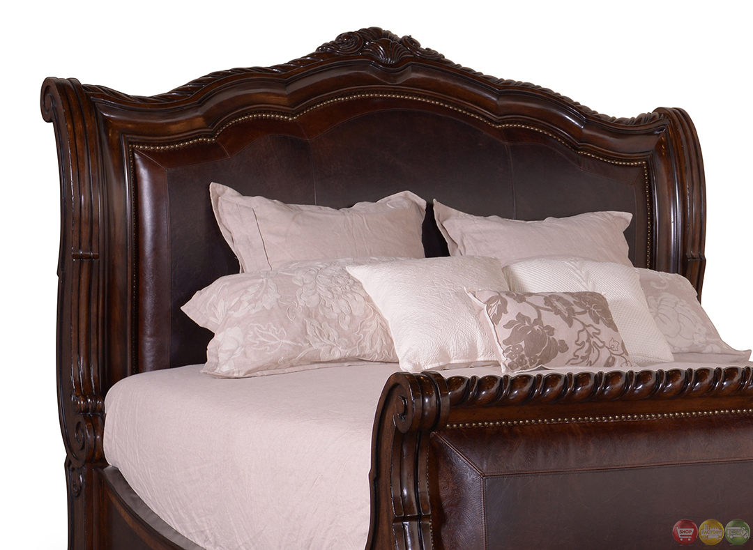 Valencia traditional leather upholstered sleigh king bed for Upholstered sleigh bedroom set