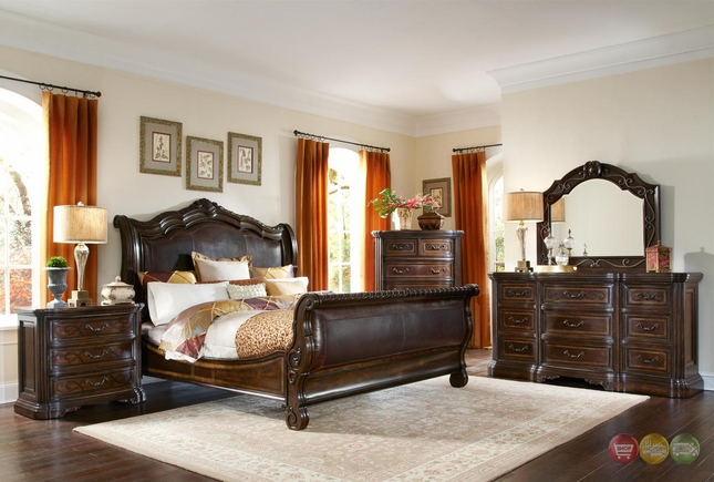 Valencia Traditional Leather Upholstered Sleigh Bedroom Set