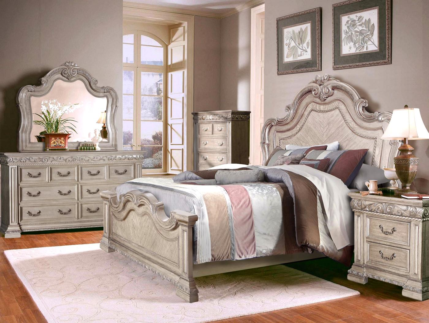Valentine antique style 4 pc queen bedroom set in antique - White vintage bedroom furniture sets ...