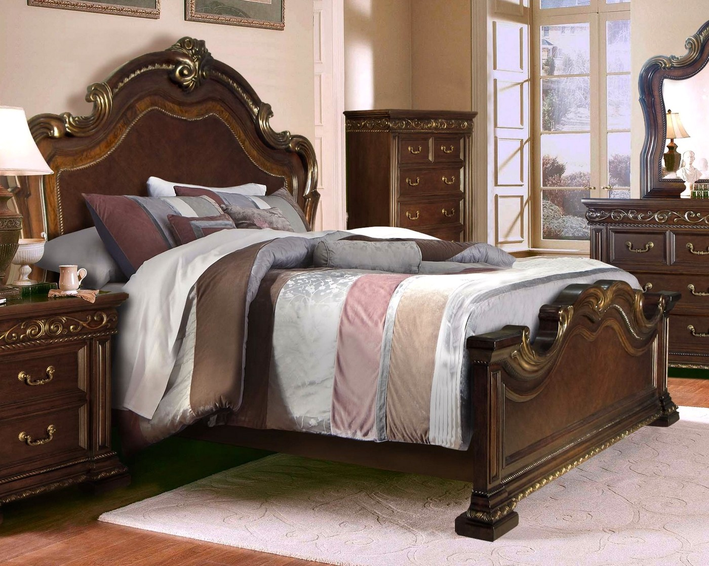 valentine antique style 4 pc king bedroom set in brown gold finish