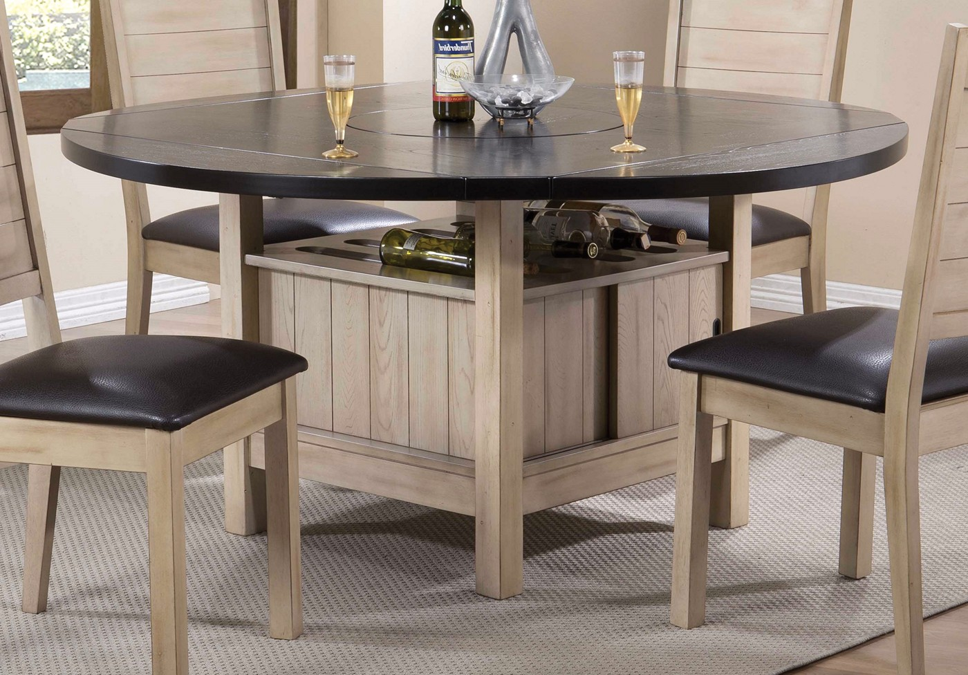 valeria 40 60 round storage dining table in dark walnut antique beige. Black Bedroom Furniture Sets. Home Design Ideas