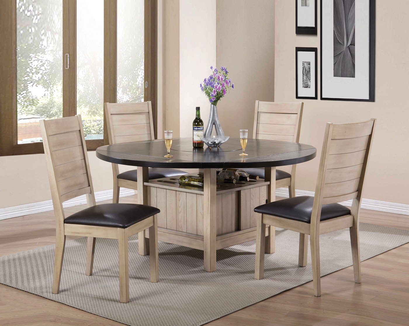 Valeria 5 Pc 40 Quot 60 Quot Storage Dining Set In Dark Walnut