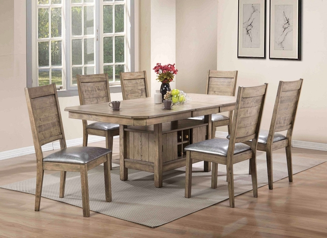 "Valeria Modern 5-pc 60""-78"" Storage Dining Table Set in Rustic Oak Finish"