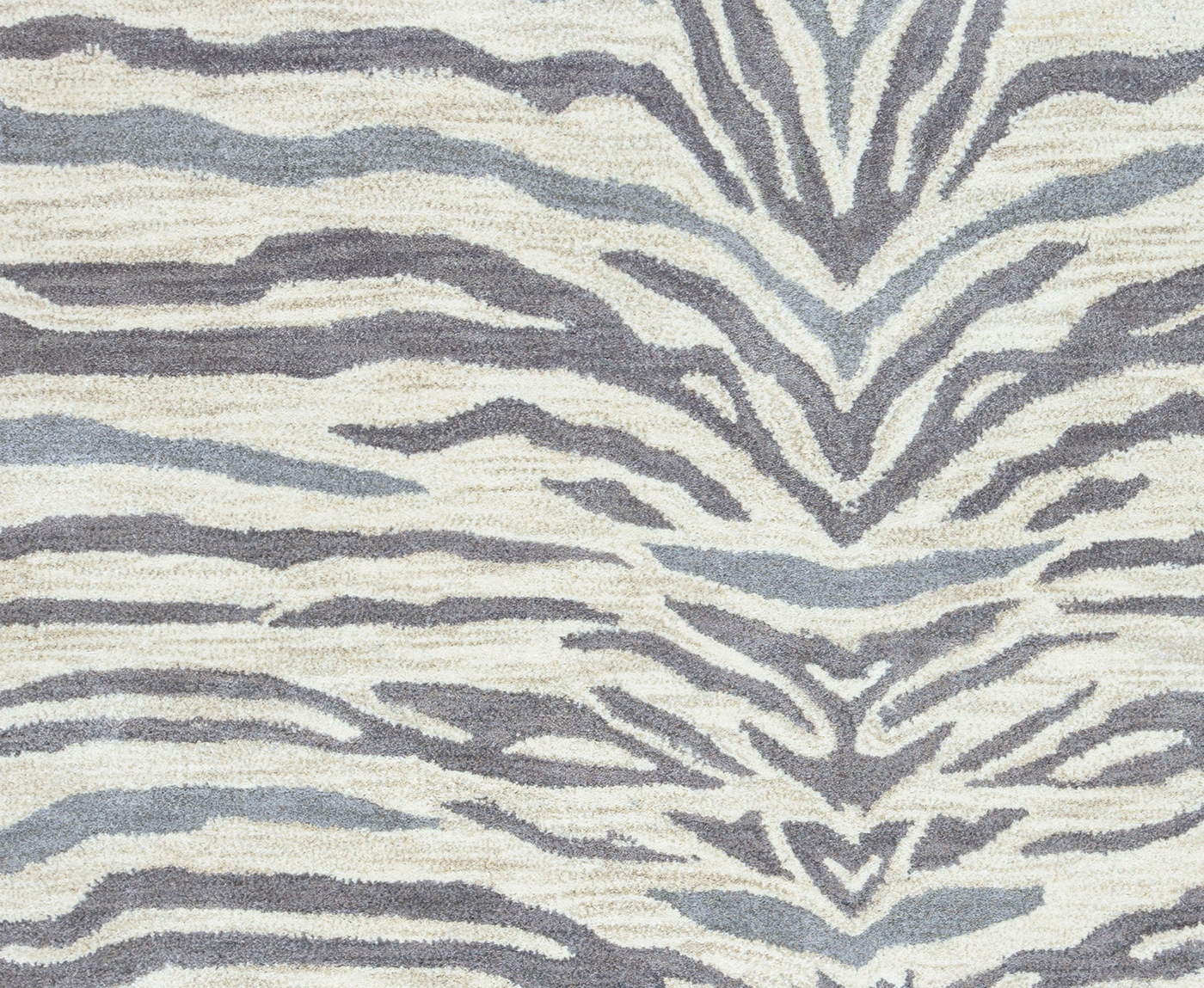 Valintino Abstract Zebra Wool Area Rug In Light Gray