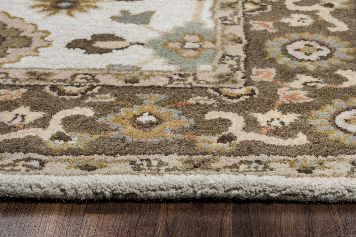 Valintino Bordered Floral Wool Area Rug In Gray Tan Sage