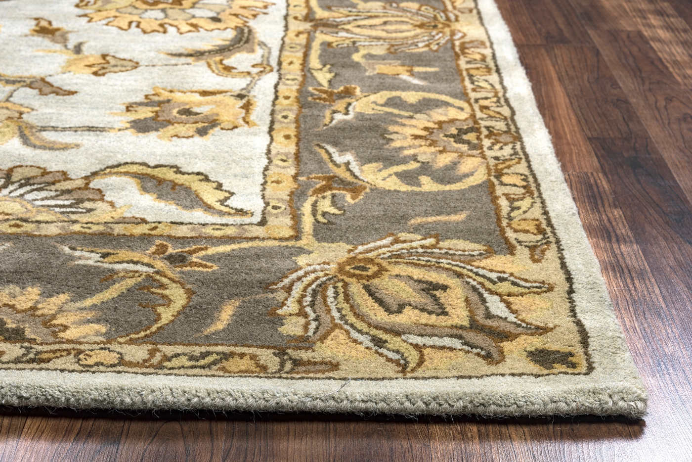 Grey Tan And Brown Area Rug: Valintino Bordered Flowers Wool Area Rug In Dark Taupe
