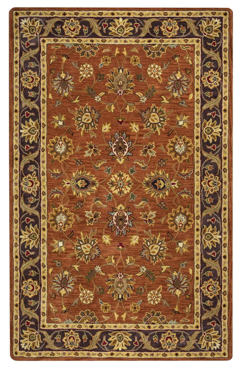 valintino bordered flowers wool area rug in rust black tan. Black Bedroom Furniture Sets. Home Design Ideas