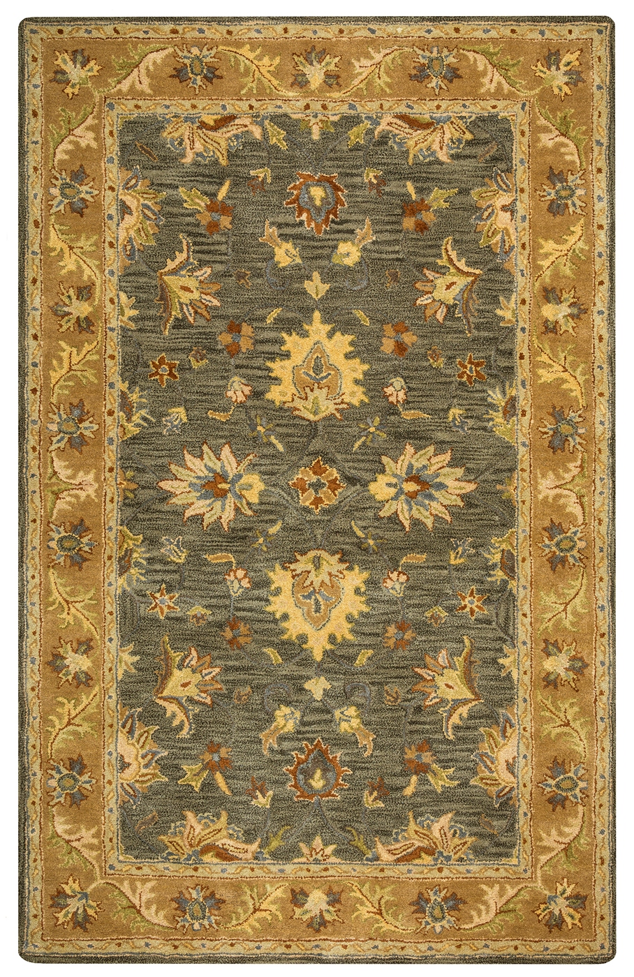 Valintino Bordered Vine Floral Wool Area Rug In Ivory