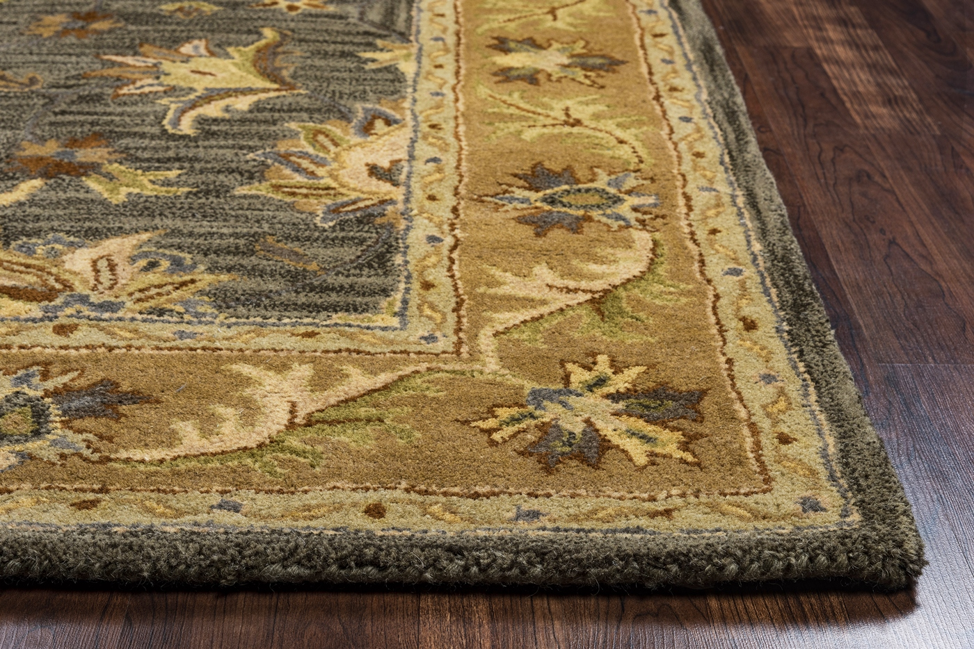 Grey Tan And Brown Area Rug: Valintino Bordered Vine Floral Wool Area Rug In Ivory