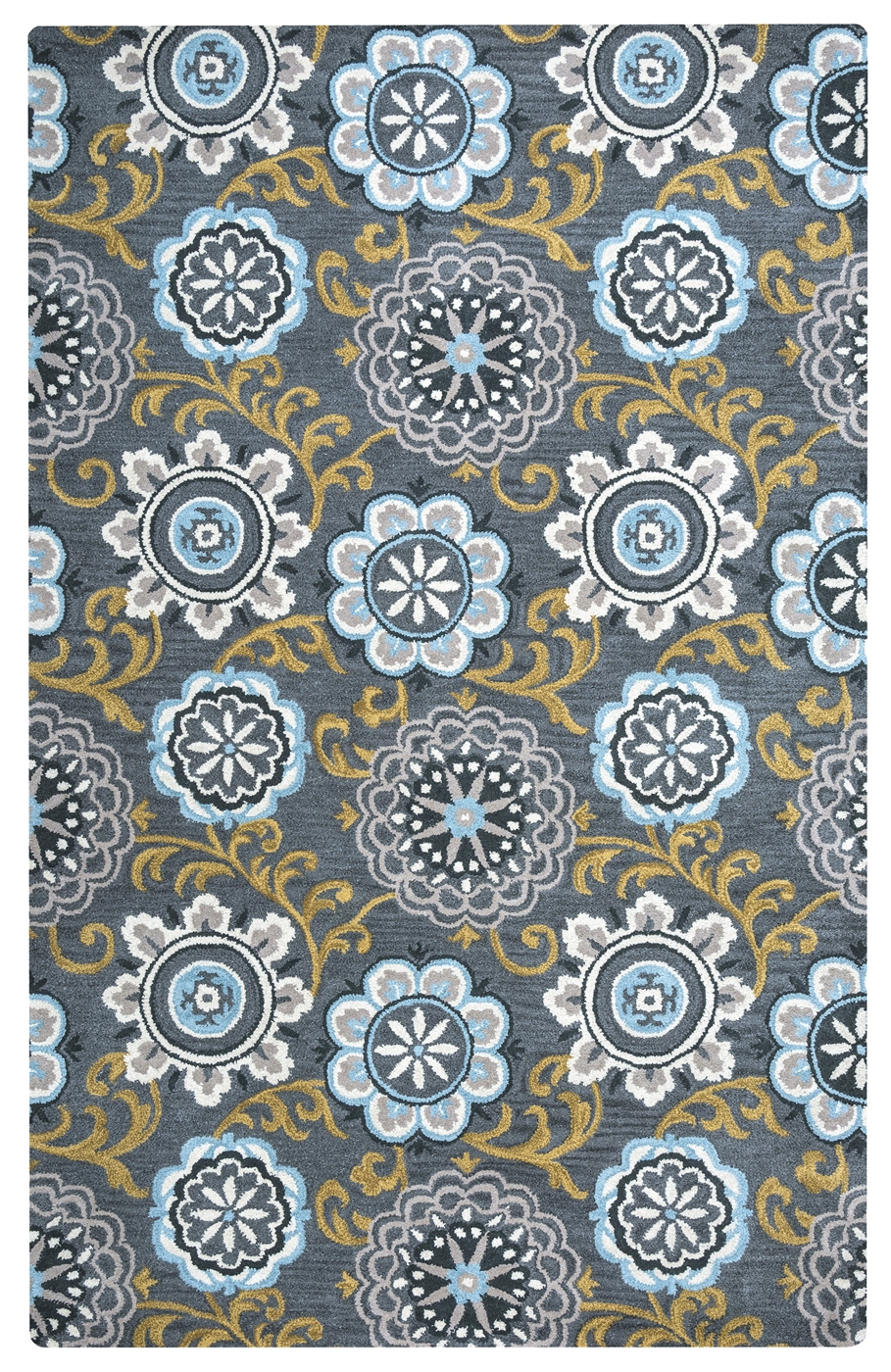 Valintino Floral Medallion Print Wool Area Rug In Navy