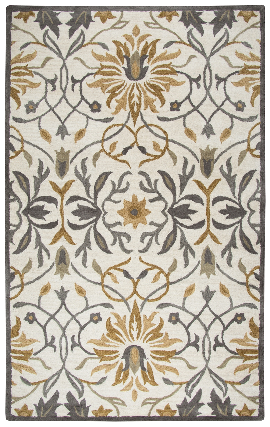 Valintino Floral Ornamental Wool Area Rug In Gray Amp Yellow