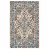 """Home Valintino Soft Wool Runner Area Rug 2'6""""x 8'Multi-Color Blue Grey Brown Tan"""