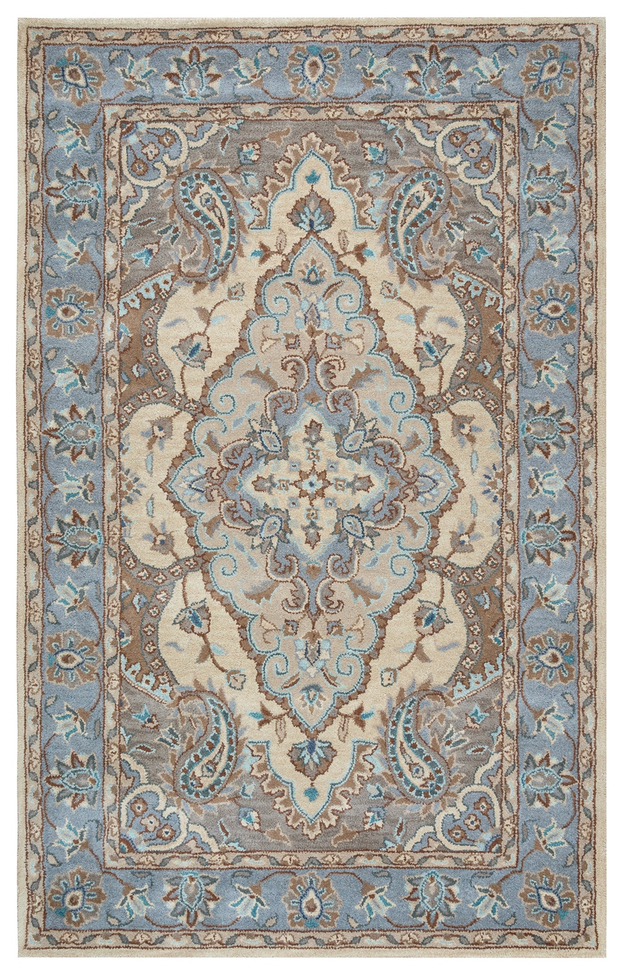 Valintino Floral Paisley Pattern Wool Runner Rug In Blue