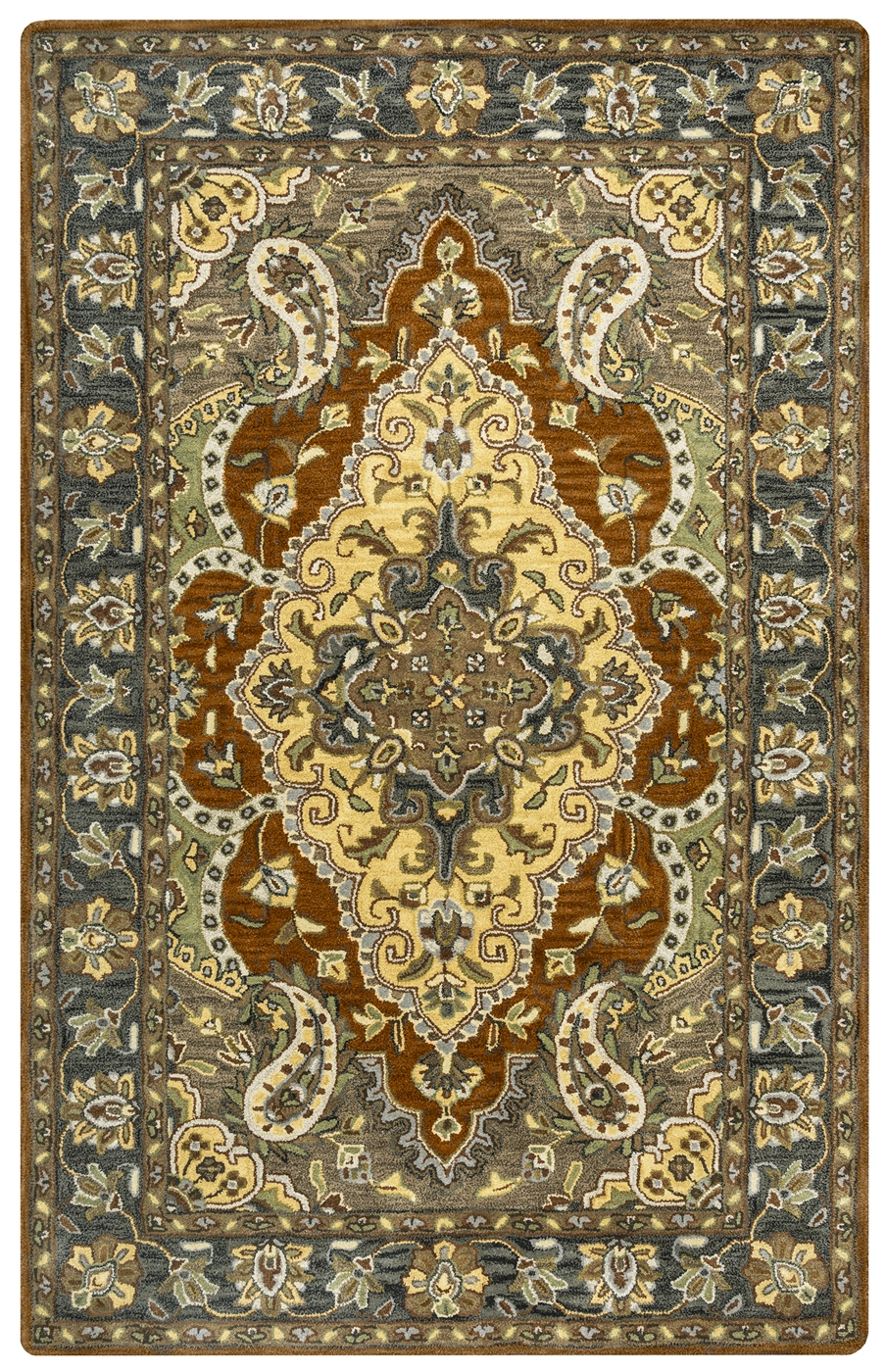 Valintino Floral Paisley Pattern Wool Area Rug In Blue Tan