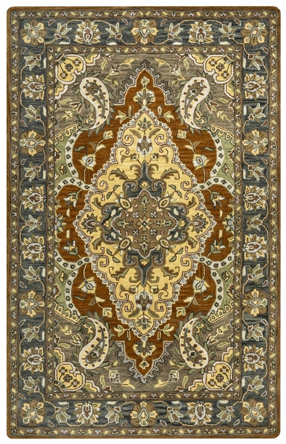 Valintino Floral Paisley Pattern Wool Area Rug In Blue Tan Sage 9