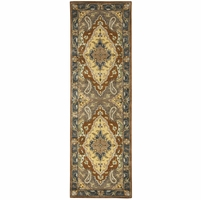 """New Valintino Soft Wool Runner Area Rug 2'6""""x 10'Blue Tan Brown Green Navy Taupe"""