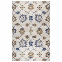 """Rizzy Valintino Soft Wool Runner Area Rug 2'6""""x 8'Natural Brown Blue Open Motive"""