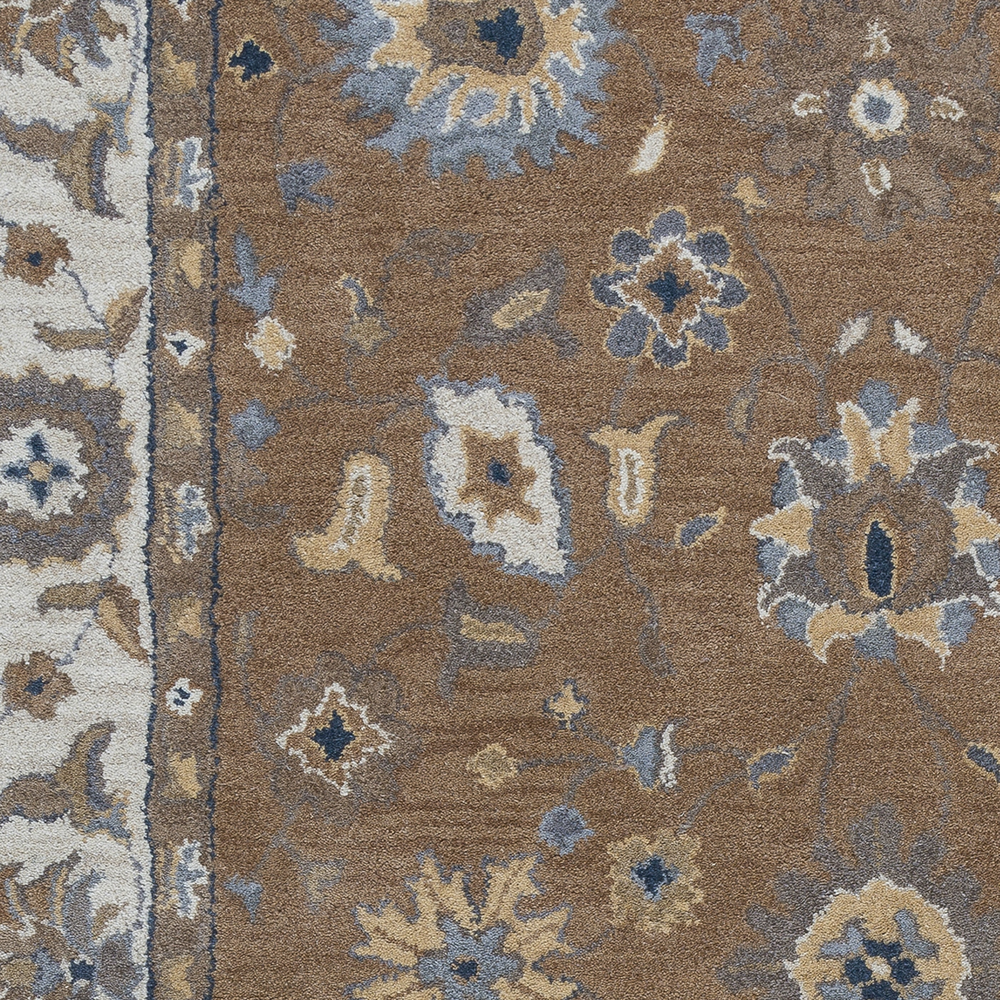 Valintino Floral Vine Border Wool Area Rug In Brown Blue